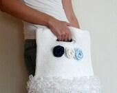 Summer Crocheted Purse white bag blue flowers cute gift