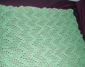 Green Crochet  Blanket -Baby / Children's -ZigZag Bobble