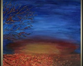 Original Abstract Blue Abstract Landscape Falling Into the Sunset Trees and Leaves Autumn