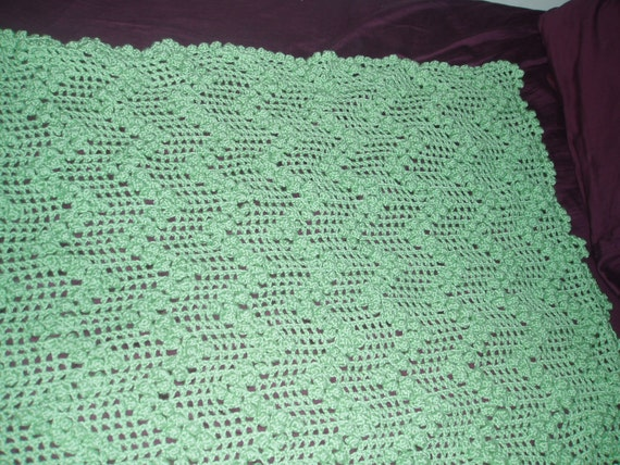 Green Crochet  Blanket -Baby / Children's -ZigZag Bobble