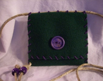 Picky Pocketbook - Forest Green/Purple Button and Stitching