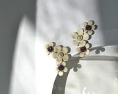 Amethyst Flower Earrings Faux Screw Back Enamel Cream and Pearl Jewellery