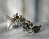 Reserved-Do not Buy Reserved for Dira Vintage Earrings Screw on Flower and Leaf Faux Silver Arts and Crafts Style