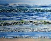 Ocean Watercolor Painting Nautical Art Decor Original Handmade Modern Beach Contemporary Blue Peach Green Art
