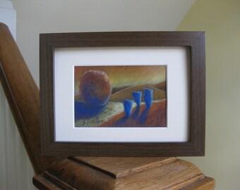 Landscape Art Original Pastel Painting Dream Hills Fine Art Framed with Mat Handpainted