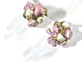 Lilac Clip Earrings Japan Lilac Stone Cluster with Glass Beads Marked Bridal Wedding Accessory