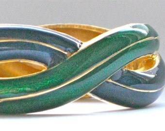Jomaz Bracelet Signed Enamel Navy Blue and Emerald Green Hinged Vintage Jewellery