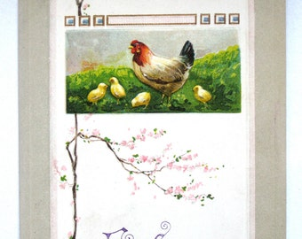 Old Postcard German Hen and Chicks Cherry Tree with Ben Franklin Stamp