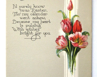 Easter Postcard with Red Tulip Flowers Poem Unused