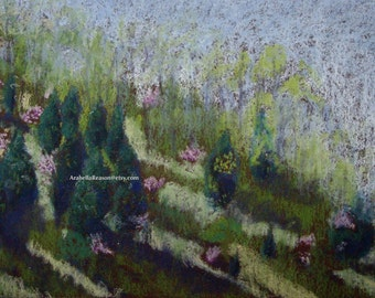 Art Painting Pastel Redbud Trees Pine Landscape Original Painting Framed Home Decor One of a Kind