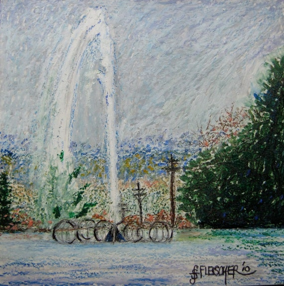 Art Painting Oil Pastel Original Fountain Lake Eden Park Cradled Panel Cincinnati Ohio