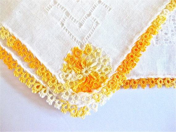 Vintage Wedding Handkerchief Linen Mustard Vintage Orange Tatted Drawn Work