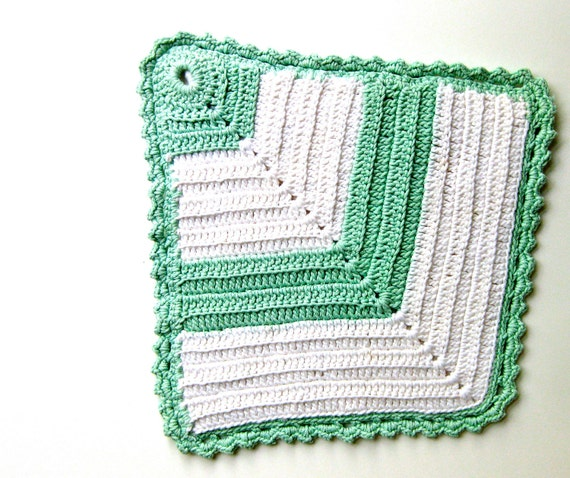 Mint Green Pot Holder Crochet with White Handmade Vintage Chevron Shape