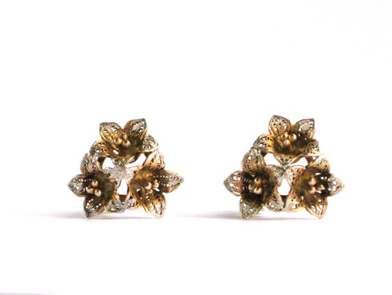 Earrings Clip on Flowers Vintage Faux Gold and Silver Petite