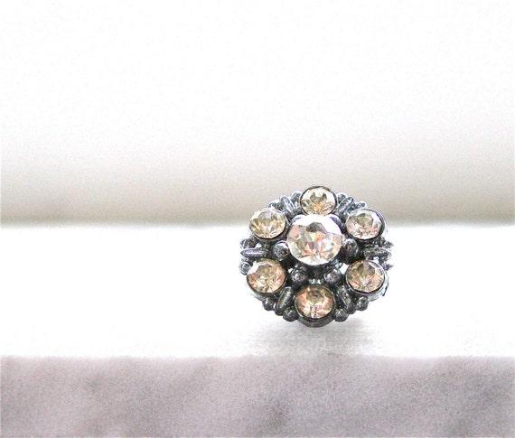 Vintage Tack Pin, Clear Rhinestone Small Pot Metal Silver Tone