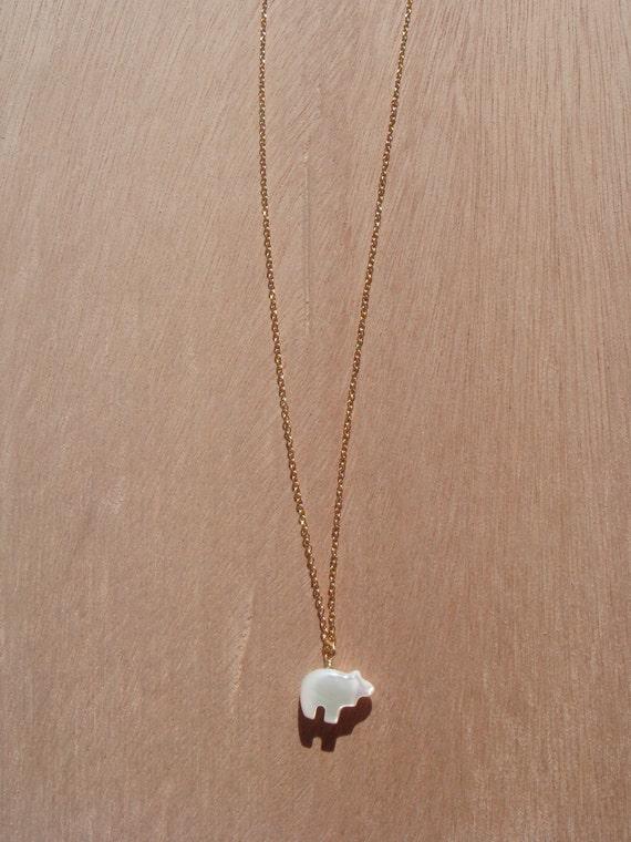 Mother of Pearl Polar Bear Pendant