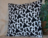 "12"" x 12"" Black and White Cow Print Decorative Pillow Cover"