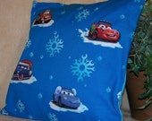 "12"" x 12"" Disney's Cars with Snowflakes Decorative Pillow Cover"