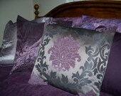 "18"" x 18"" Elegant Deep Purple, Black and Grey Decorative Pillow Cover"