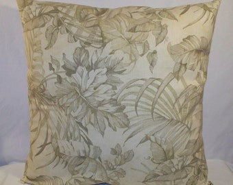 """SALE 20"""" x 20"""" Green Leafy Print on Tan Decorative Pillow Cover"""
