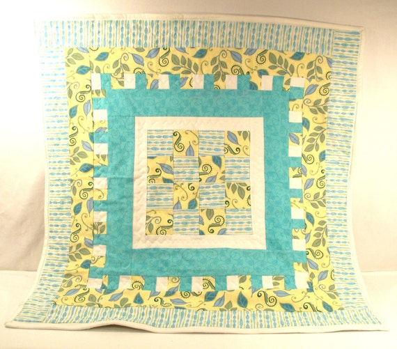 "30"" x 30"" Baby Quilt in Yellow, Aqua and White with Green Accents and Leafy Prints with Sage Green Microfiber Back and White Trim"