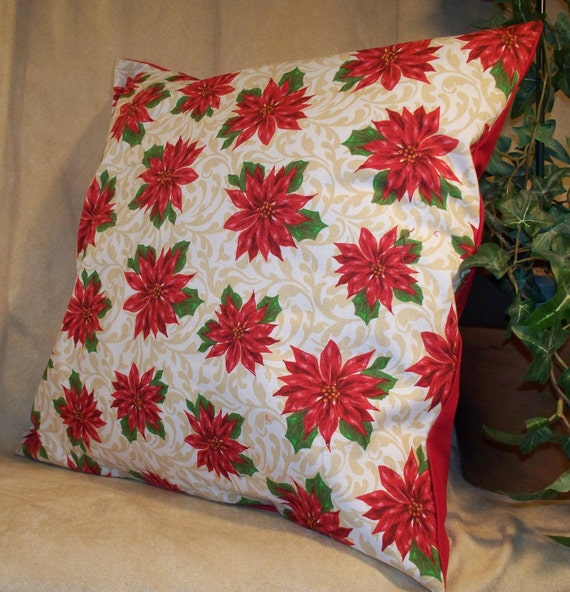 """14"""" x 14"""" Poinsettia print with Red back Decorative Pillow Cover"""
