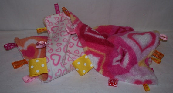 """17"""" x 17"""" Mini Tag Blanket in Pink, Yellow, Orange, Yellow and White Hearts Fleece with Ribbons - a great chew toy for babies 3 to 9 months"""