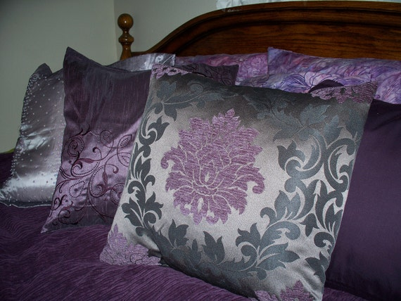18 x 18 Elegant Deep Purple Black and Grey - photo#14