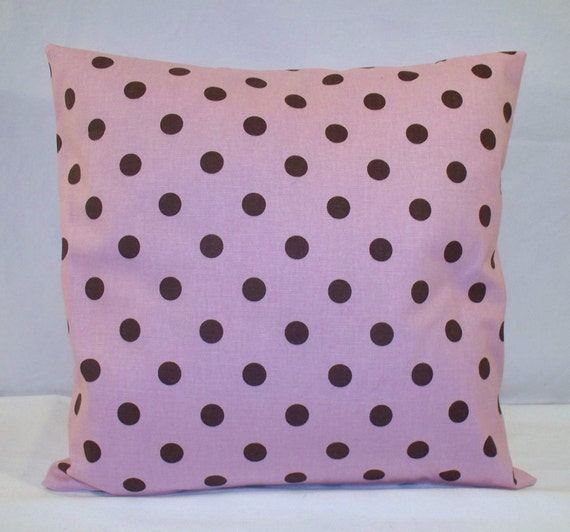 "16"" x 16"" Pink with Dark Brown Polka Dot Print Decorative Pillow Cover"