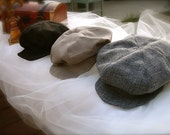 Newsboy hat, Newspaper boy hat, beret hat for boys, great gatsby hats, vintage style hats in black, taupe or mixed grey