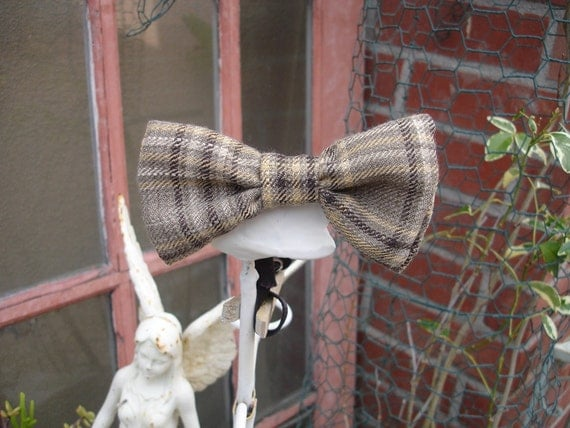 little boys bow ties brown plaid