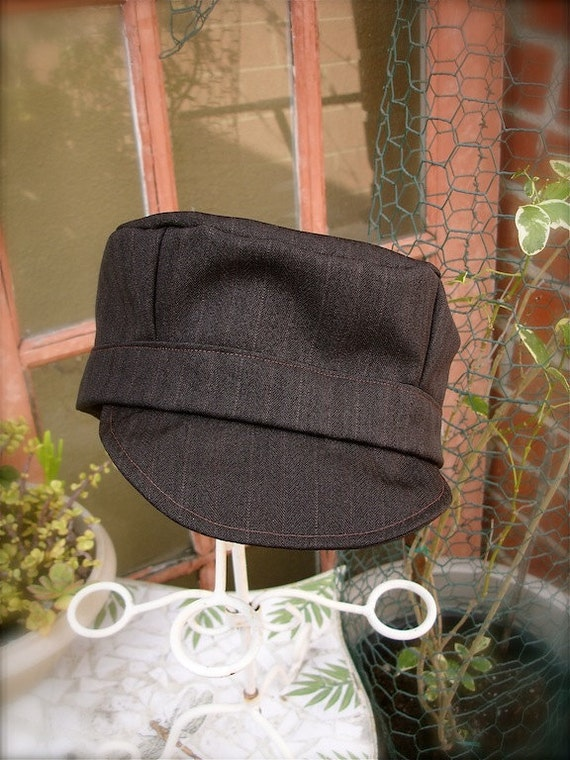 Dark Brown pinstripe conductor hats for boys, brown pinstripe train hats for boys