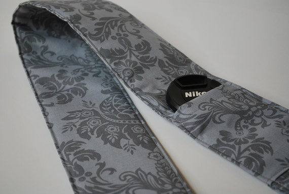 Gray Damask Camera Strap Cover with 2 Lens Cap Pockets and Padding .. LAST one