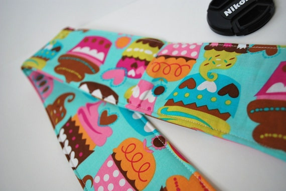 Padded Camera Strap Cover with Lens Cap Pocket - Michael Miller Sweet Treats in Turquoise (Cupcakes)
