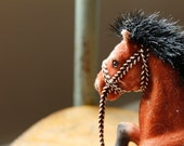 Vintage Flocked Adult Pony Horse Figure Toy Brown White Spotted Prancing w/ Bridle