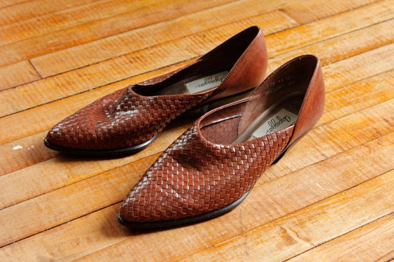 80s Arpeggios Hillary Woven Leather Brown Shoe Boots Size 9 Narrow