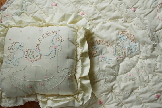 80s Vintage Hand Embroidered Cream Lace Blue Ribbon Pink Hearts Rocking Horse Pony Baby Crib Quilt Blanket w/ Matching Pillow