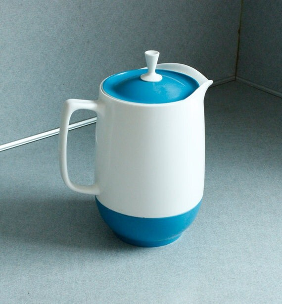 1950s Vintage Pitcher Thermos Insulated Ware White Sky Blue