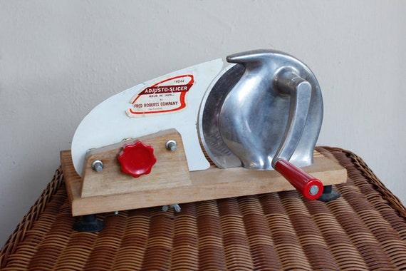 Vintage Meat Deli Slicer Cheese Metal Wood Base Adjusto Atomic Kitchen