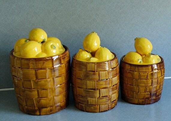 Vintage Ceramic Glazed Lemon Baskets Canisters