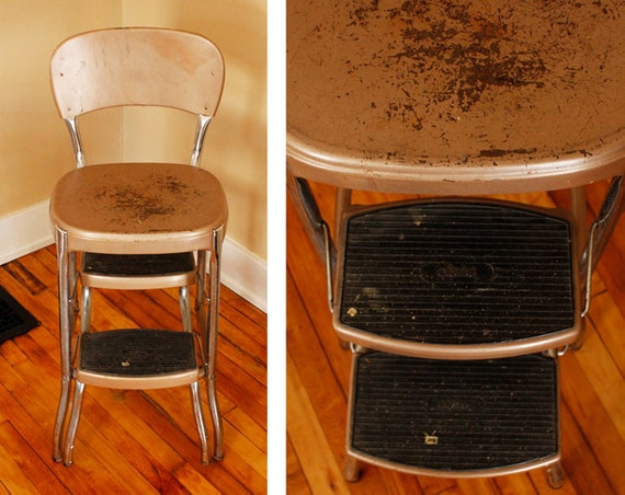 1950s Atomic Kitchen Vintage Stylaire Step Stool Chair Gold