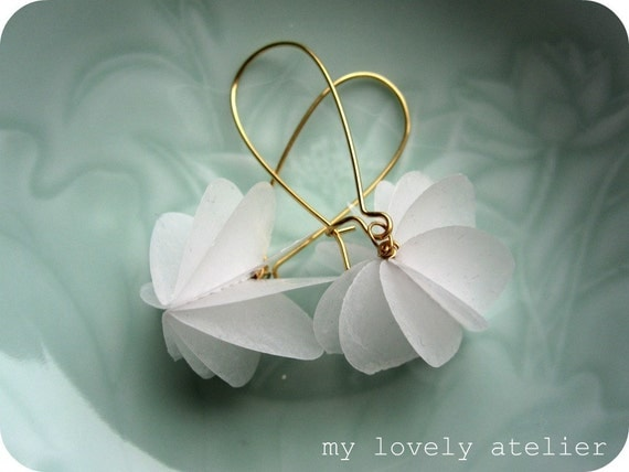 PURE LOVE, white heart paper earrings, poetic paper jewelry