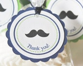 Mustache Baby Shower Favor Tags - Set of 12