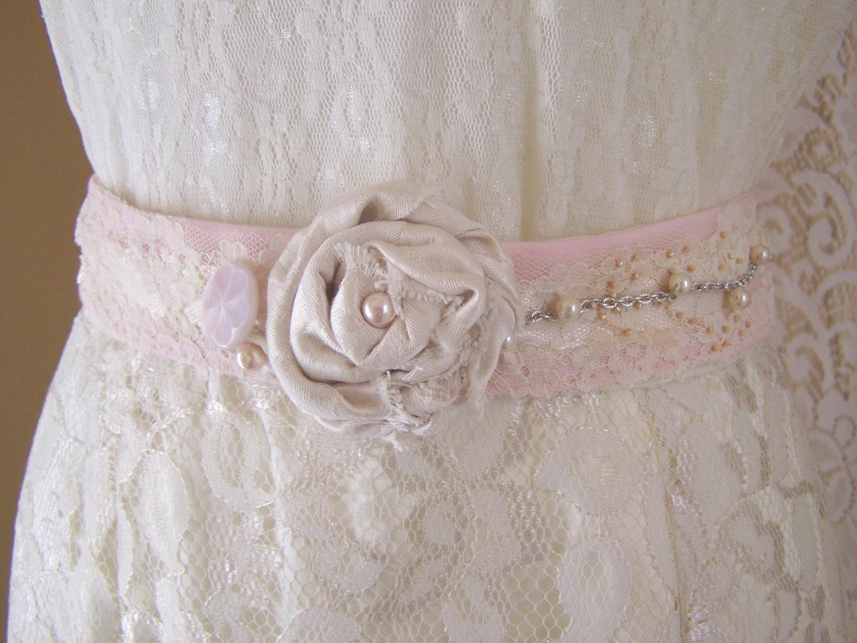 Shabby chic southern wedding gown dress sash blush pink for Wedding dresses shabby chic