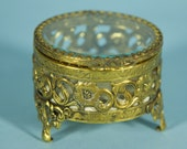 Vintage Gold Filigreed Ring Box, Trinket Box, Jewelry Casket