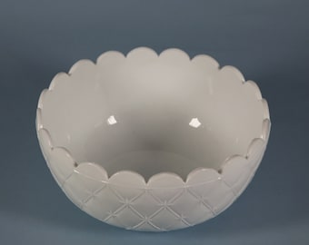 Pair of Vintage White Milk Glass Diamond Patterned Bowl with Scalloped Edge