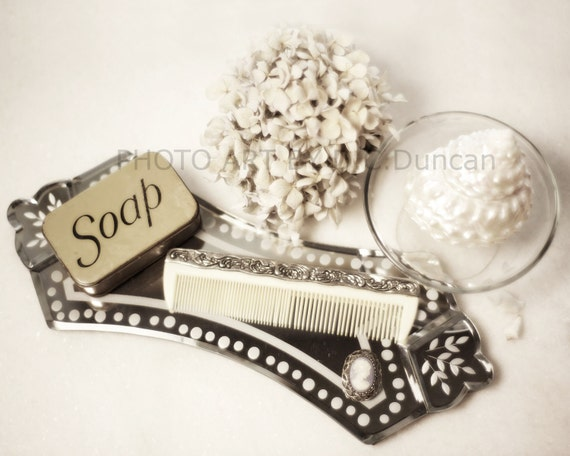 "Bath/Boudoir Art Vintage Soap Tin Dreamy Sea Shell Hydrangea Cameo Vanity Top Shabby Chic Home Decor Composition 16 x 20"" Print"