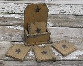 Primitive Wood Coasters Mustard with Black Historic Stars for Home