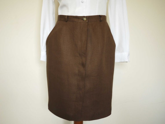 Vintage Brown Linen Skirt // Mid Length Skirt (medium UK 12)