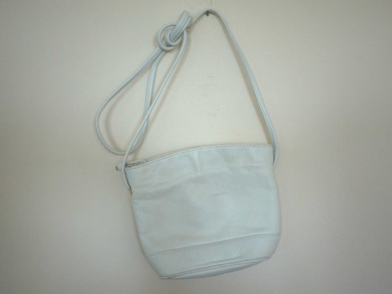 Vintage White Leather Purse // Real Leather